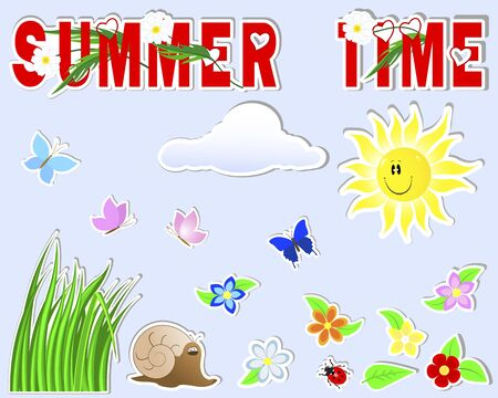 Summer cute stickers   sun, grass, cloud, flower, butterfly, snail, ladybird Vector