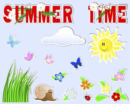 Summer cute stickers   sun, grass, cloud, flower, butterfly, snail, ladybird Vector