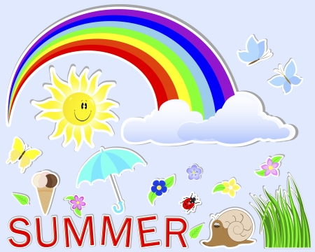 Summer cute stickers   sun, grass, cloud, flower, rainbow, umbrella, butterfly, snail, dybird Vector
