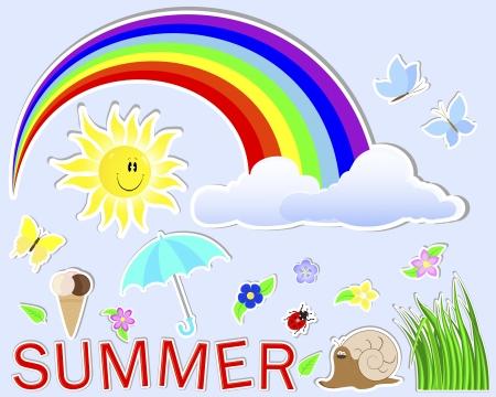 Summer cute stickers   sun, grass, cloud, flower, rainbow, umbrella, butterfly, snail, dybird Stock Vector - 14169415