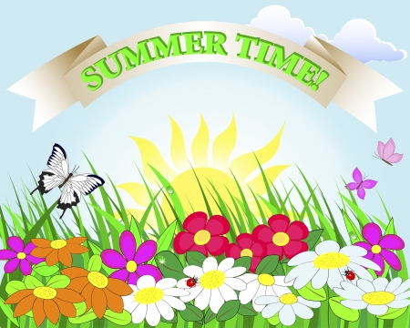 Summer banner  Flower lawn with ladybugs and butterflies   Illustration  Vector