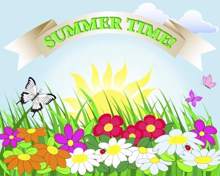 Sommer Banner Blumenwiese mit Marienkäfern und Schmetterlingen Illustration