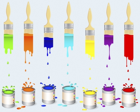 paint container: Tins of colour paint and flat brushes leave a multi-colored vertical trail with splash and drops illustration