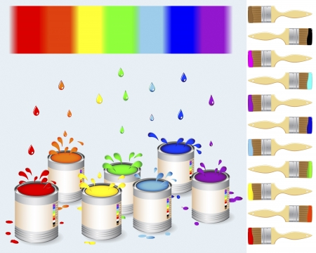 Pots of colour paint and a paintbrush with a drops and splash illustration