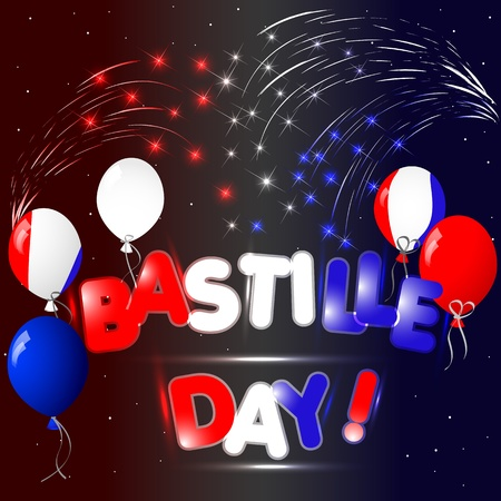 Celebration of Bastille Day with fireworks Vector
