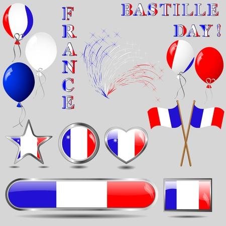 patriotic border: D�a de la Bastilla Set iconos y botones de ilustraci�n