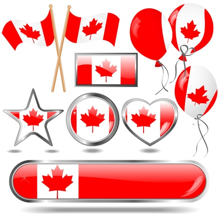Canada flag buttons and icons
