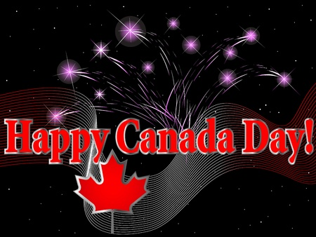 night and day: Celebration of Canada Day with fireworks Illustration