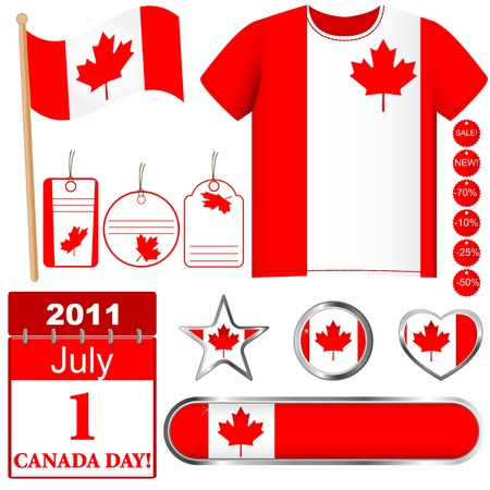 independent day: Canada Day  Set of icons and buttons