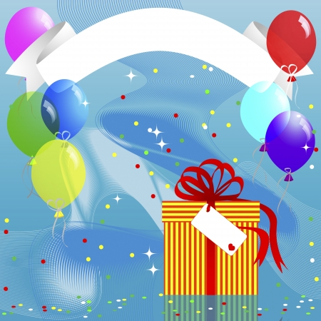 Holiday background with banner, gift and balloons illustration  Vector