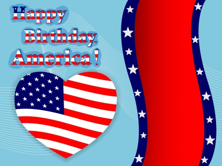 flags usa: Independence Day American flag heart with banner