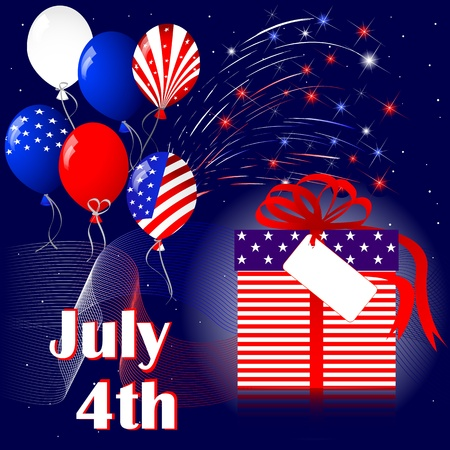 Celebration of independence day with fireworks Vector