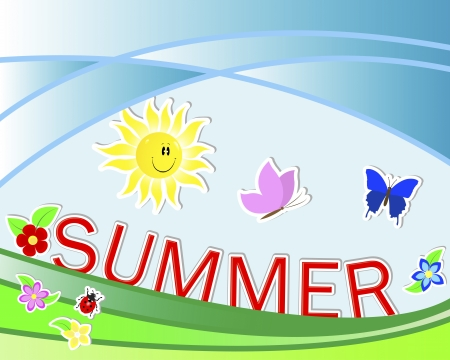 Summer background with cute stickers Vector