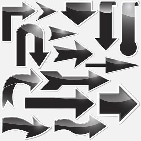 Set of black arrows stickers. Vector