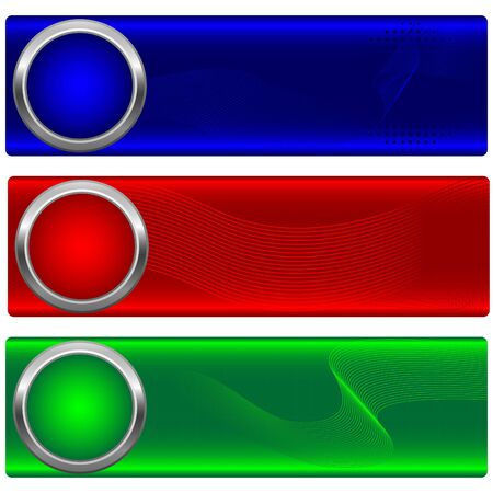 Set of banners with button and waves. Stock Vector - 14169513