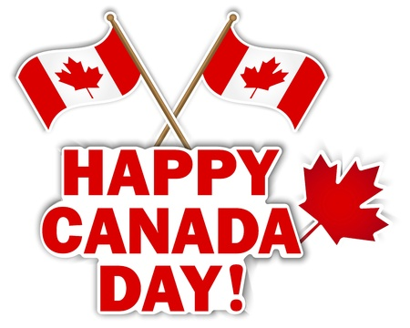 Canada Day stickers with maple leaf and flags illustration  Illustration