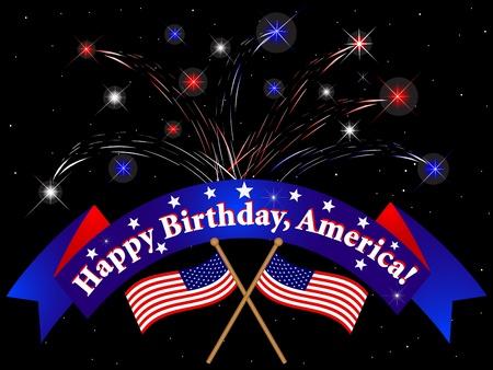 Celebration of independence day with fireworks Illustration