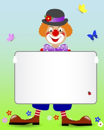 prank: Ginger clown with a blank banner and butterflies illustration