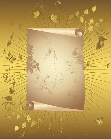 brown swirl: Vintage paper scroll with floral ornament and butterflies on grunge golden background illustration