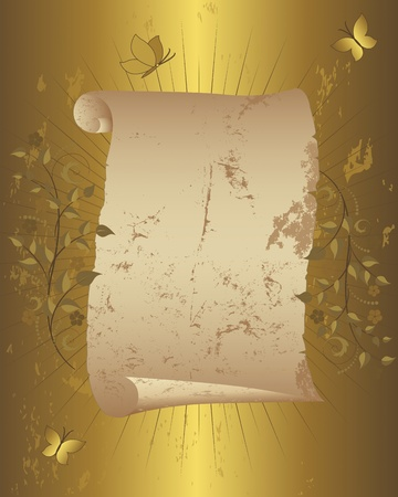 Vintage paper scroll with floral ornament and butterflies on grunge gold background illustration  Vector