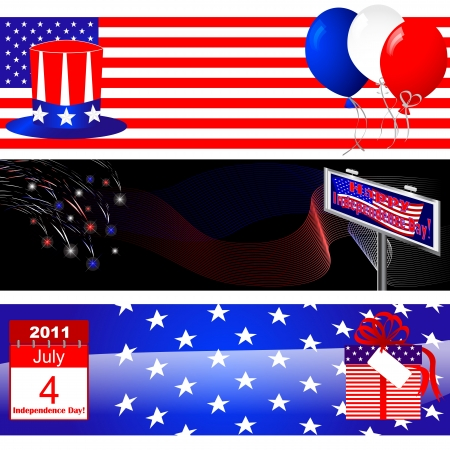 Set of 4th of July banners with USA symbolism Vector
