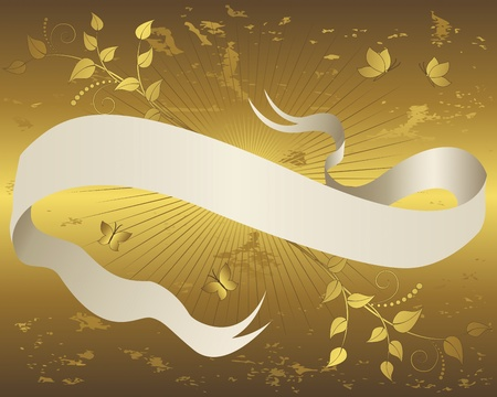 brown swirl: Vintage paper scroll banner with floral ornament and butterflies on grunge gold background  Vector illustration