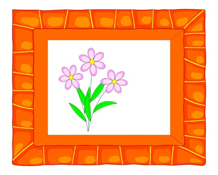Colorful frame with cute flowers illustration  Vector