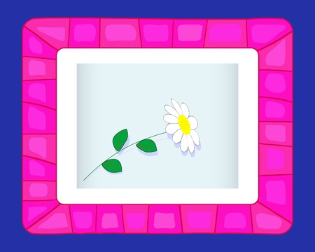 Pink Framework with cute flower on a blue background illustration  Vector