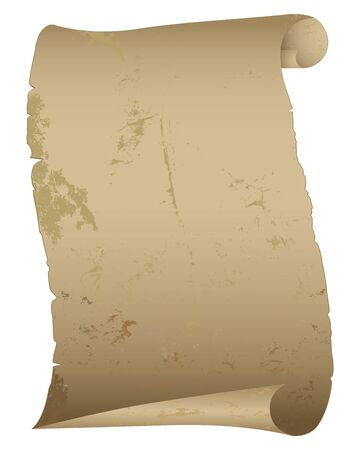 parchment scroll: Antique paper scroll isolated on white illustration