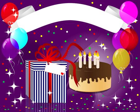 Holiday empty banner with a gift, chocolate cake with candles and balloons illustration  Vector