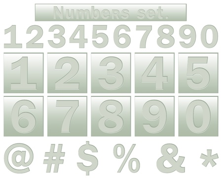 The set of numbers, buttons with numbers and icons for the web illustration  Vector