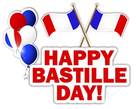 Bastille Day stickers with flags and balloons  Vector
