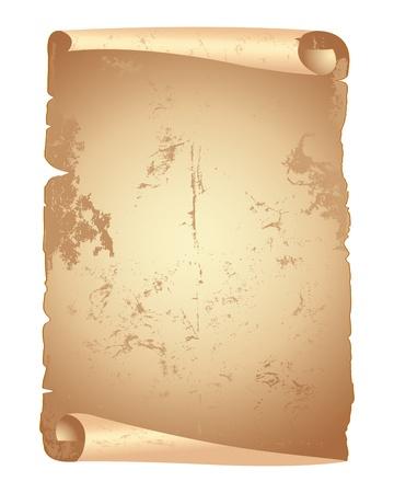 papiro: Carte Grunge scorrere isolato su bianco