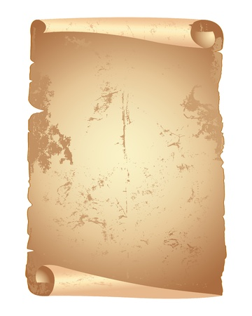 ancient scroll: Grunge papers scroll isolated on white  Illustration