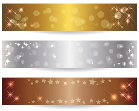 silver circle: Set di tre bandiere astratte con le stelle brillanti