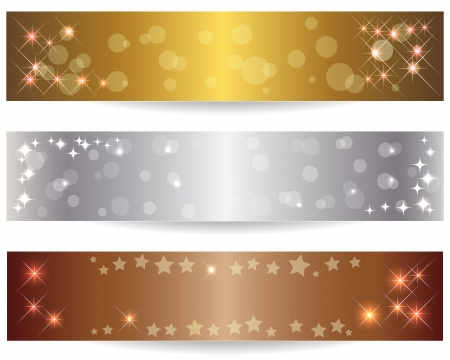 gold silver bronze: Set of three abstract banners with shining stars