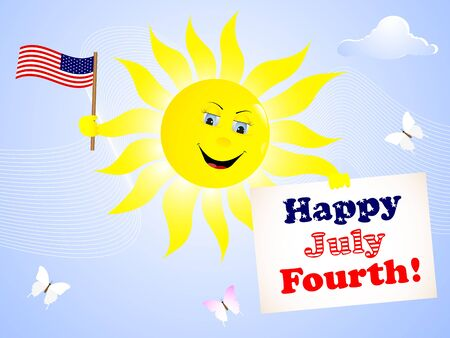 american butterflies: Independence Day  The smiling sun with the American flag and a greeting card   Illustration