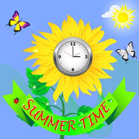 Summer time  Banner and sunflower with clock  Vector