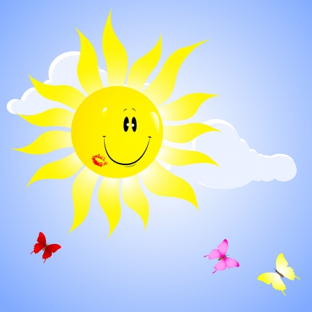 Beautiful sun with lip print   Vector