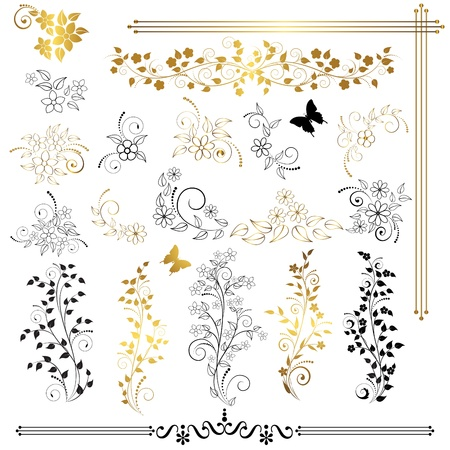 gold corner: Set of floral design elements
