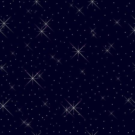 cielo estrellado: Patrón sin fisuras con las estrellas y las luces Vectores