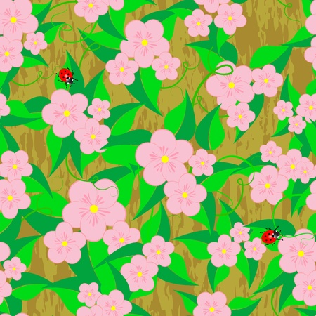 Seamless patterns with flowers and ladybugs on grunge background   Stock Vector - 14239200