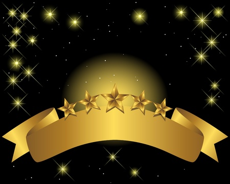 Gold banner with stars and flaring lights  Vector