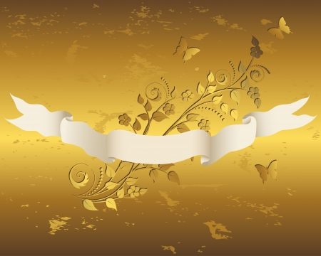 Vintage ribbon with grunge gold floral background  Vector