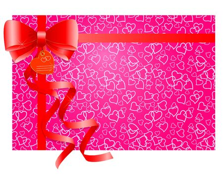 Red gift bow with ribbons on a pink background with hearts   Vector