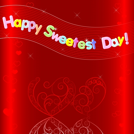 sweetest: Greeting card  Hearts with reflection and banner