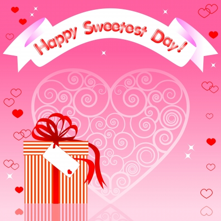 sweetest: Greeting card  Gift with reflection and banner