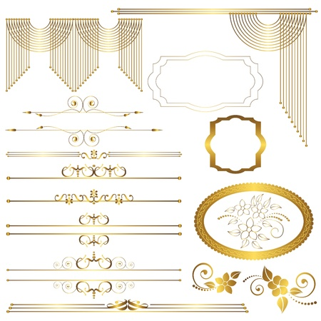 gold frame:  Set. Vintage calligraphic design elements. vector.