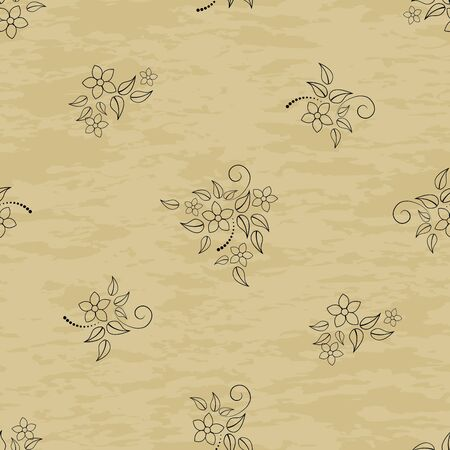 Seamless patterns with flowers on grunge background. Vector. Vector