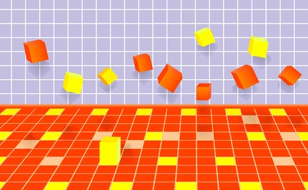 falling cubes: falling abstract cubes. vector 10eps.